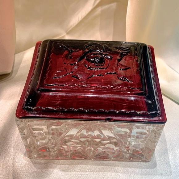 Vtg Glass Rose Trinket Box